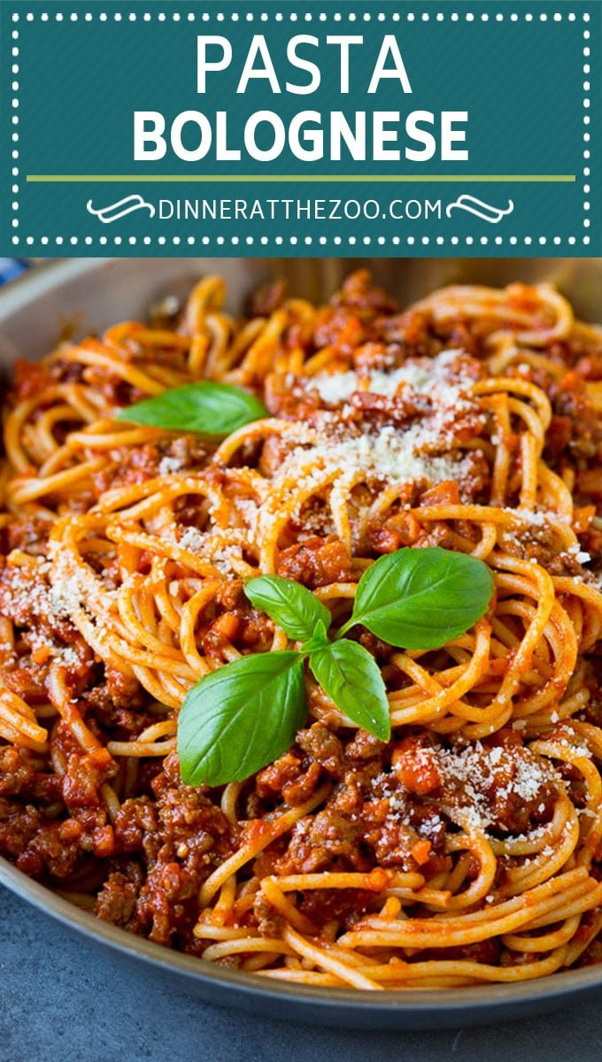 Pasta bolognese with spaghetti tossed in the most delicious homemade meat sauce.