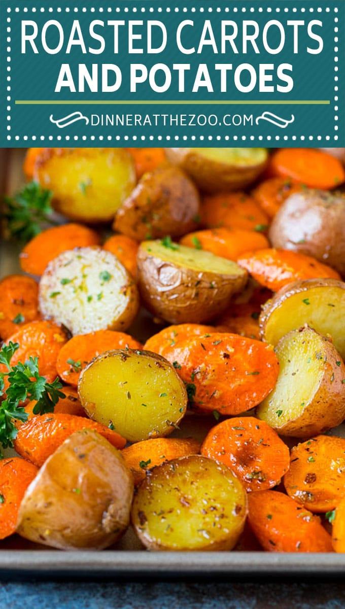 These roasted potatoes and carrots are coated in butter, garlic and herbs, then cooked until golden brown and tender.