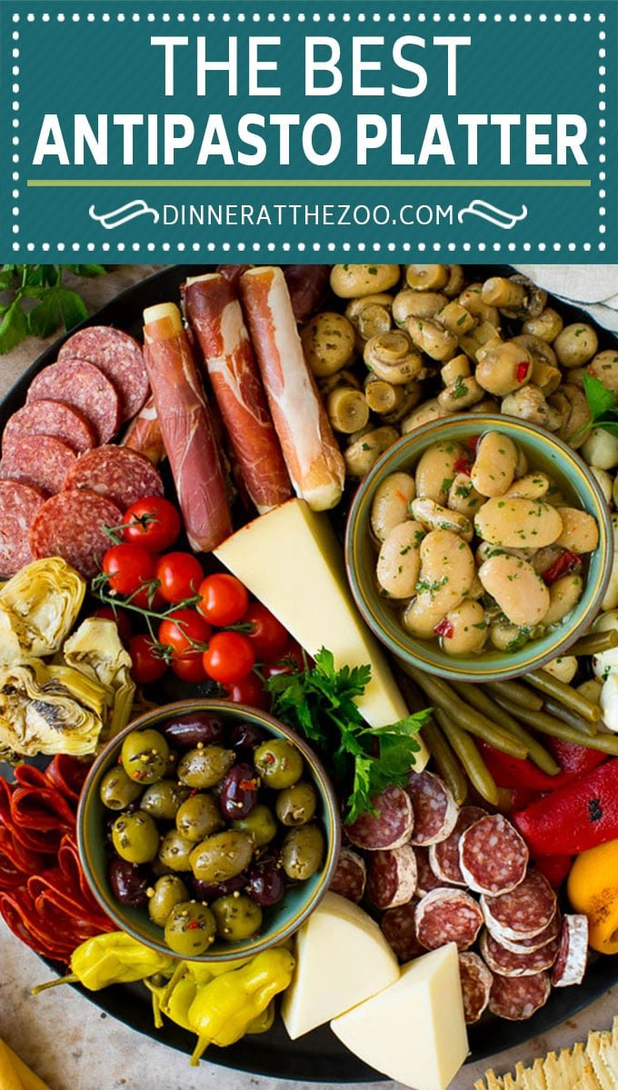 This antipasto platter is a combination of Italian meats, cheeses, vegetables and breads, all arranged to create a fabulous appetizer display.