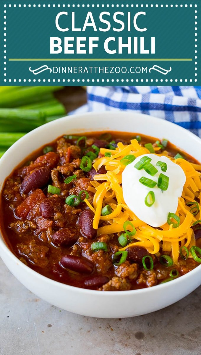 This beef chili is a blend of meat, tomatoes, spices and beans, all simmered together to make a delicious and hearty meal.