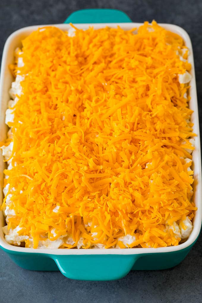 Creamy potatoes topped with shredded cheddar cheese.