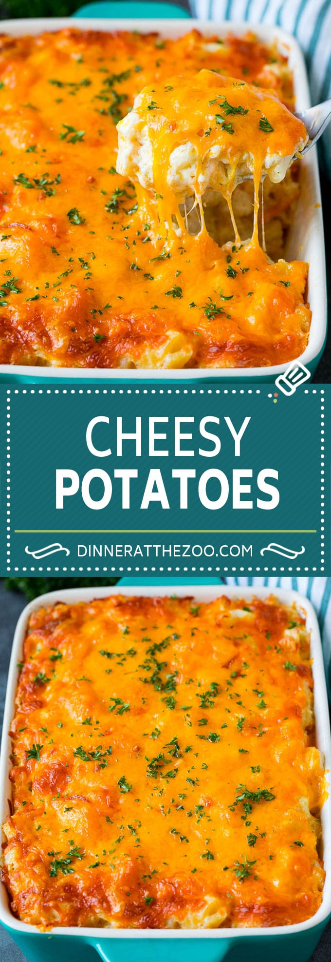 These cheesy potatoes are diced potatoes tossed in a creamy blend of sour cream, butter and cheese, then baked to golden brown perfection.