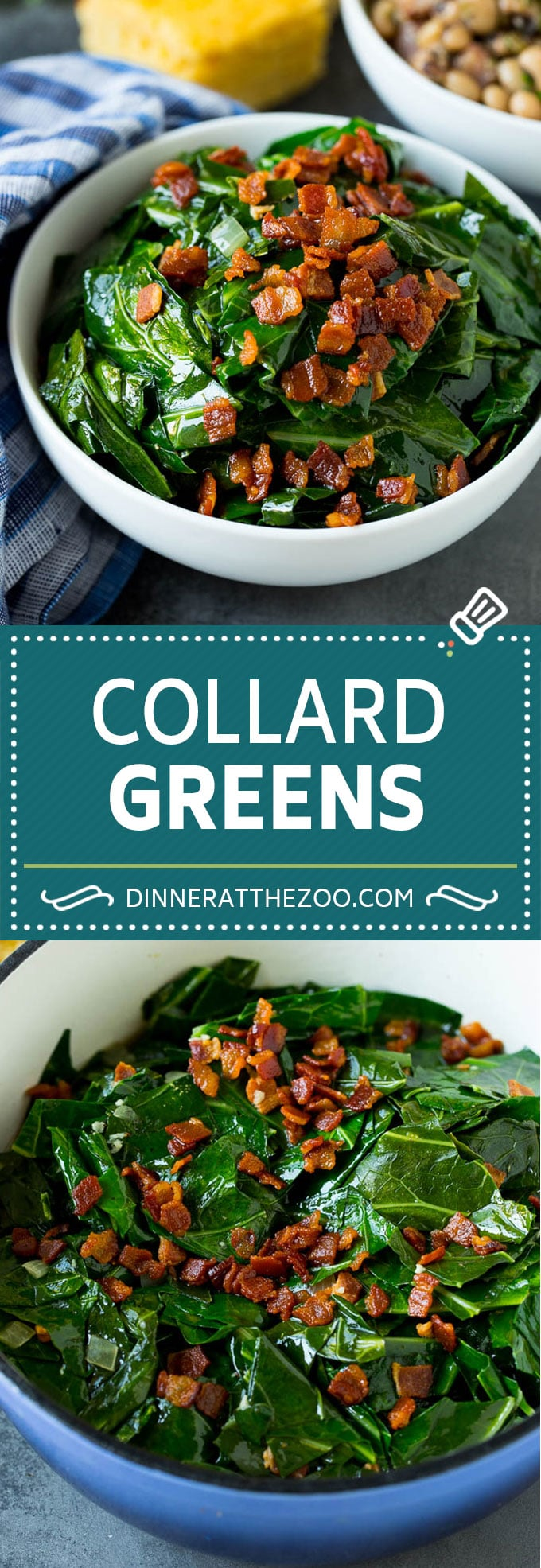 These Southern style collard greens are simmered with bacon and seasonings until tender and flavorful.
