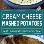 These cream cheese mashed potatoes are boiled potatoes blended with butter, milk, cream cheese and seasonings to make a rich and creamy side dish.