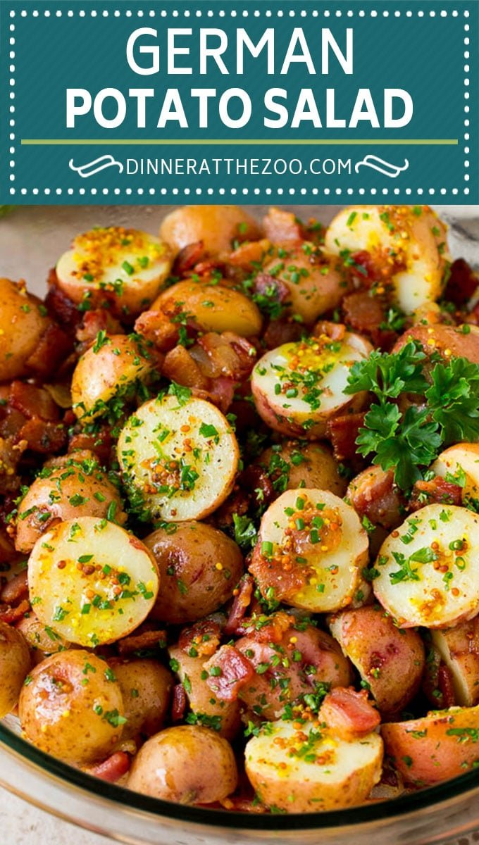 This German potato salad is boiled baby potatoes tossed in a warm bacon and mustard dressing, then garnished with fresh herbs.