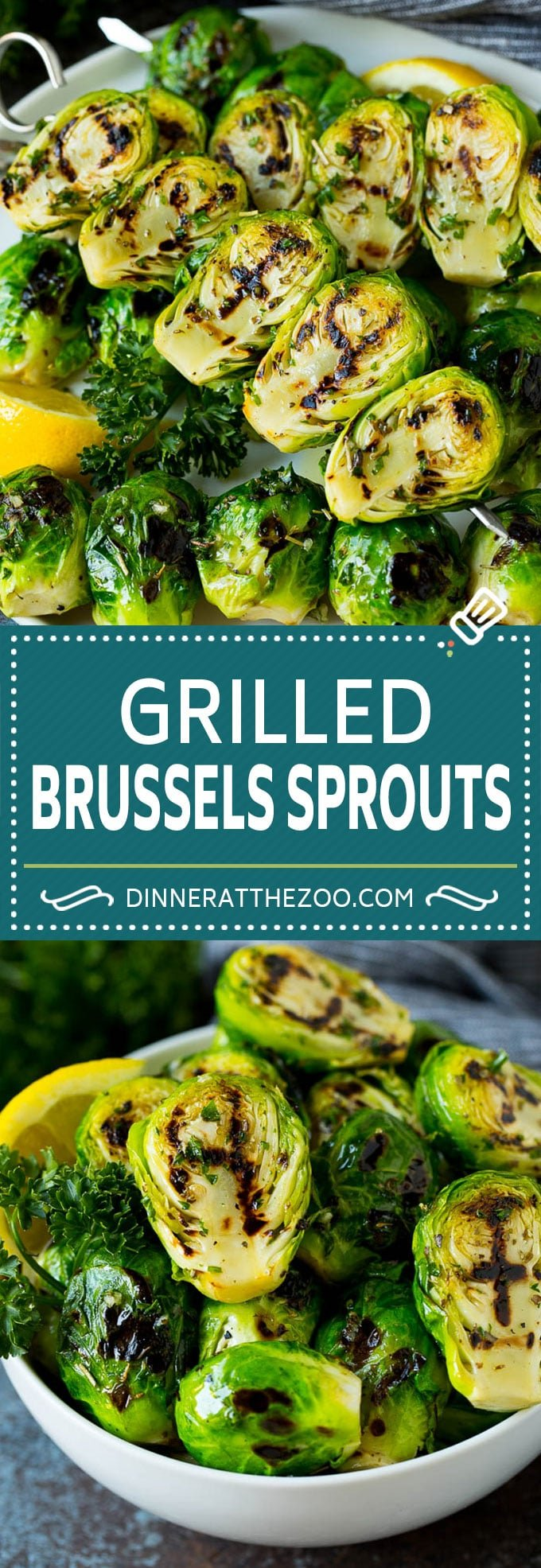 These grilled brussels sprouts are coated in olive oil, garlic and herbs, then threaded onto skewers and cooked until caramelized.