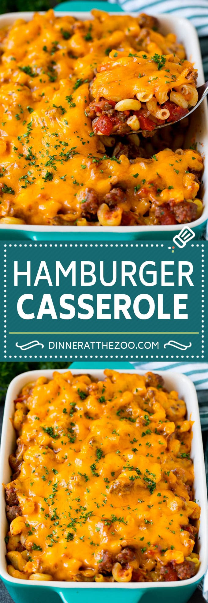 This hamburger casserole is ground beef and mushrooms in tomato sauce, tossed with pasta and topped with melted cheese.