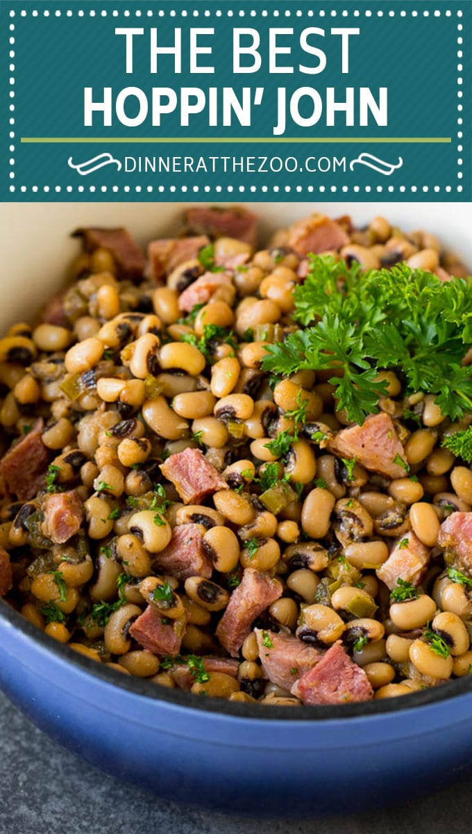 This Hoppin' John recipe is black eyed peas simmered with ham and vegetables until tender, then served over rice.