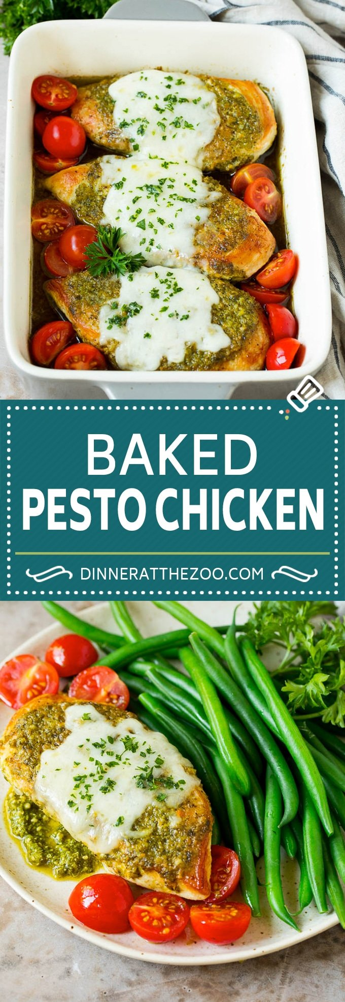 This pesto chicken recipe is seared chicken breasts topped with pesto sauce and mozzarella cheese, then baked to golden brown perfection and served with fresh tomatoes.
