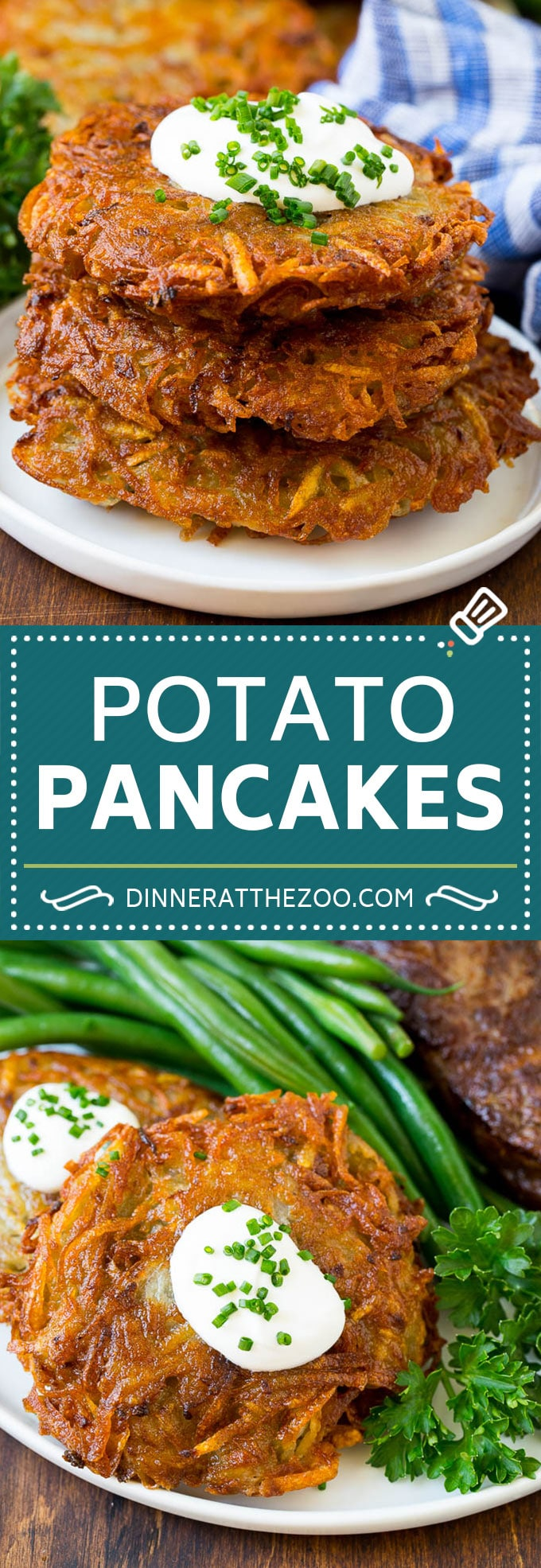 These potato pancakes are shredded potatoes combined with onions and seasoning, then pan fried until golden brown.