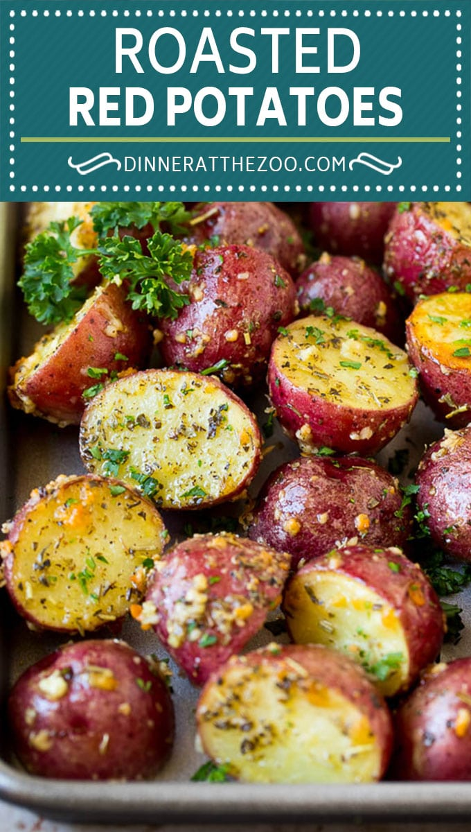 These roasted red potatoes are coated in garlic, herbs and parmesan cheese, then oven baked to golden brown perfection.
