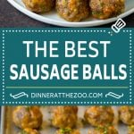 This sausage balls recipe is a blend of pork sausage, cheddar cheese, bisquick and seasonings, all formed into balls and baked to golden brown perfection.