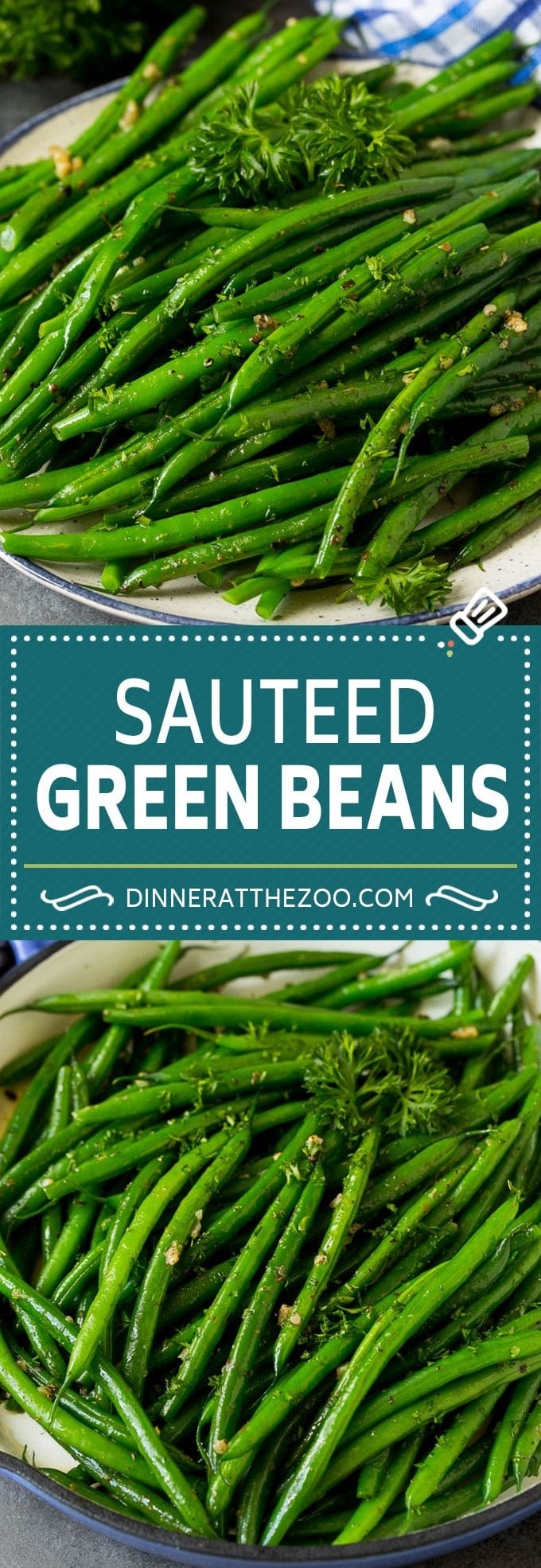 These sauteed green beans are cooked in butter, garlic and an assortment of fresh and dried herbs.