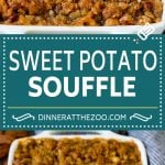 This sweet potato souffle is a creamy blend of sweet potatoes and spices topped with a brown sugar and pecan streusel.
