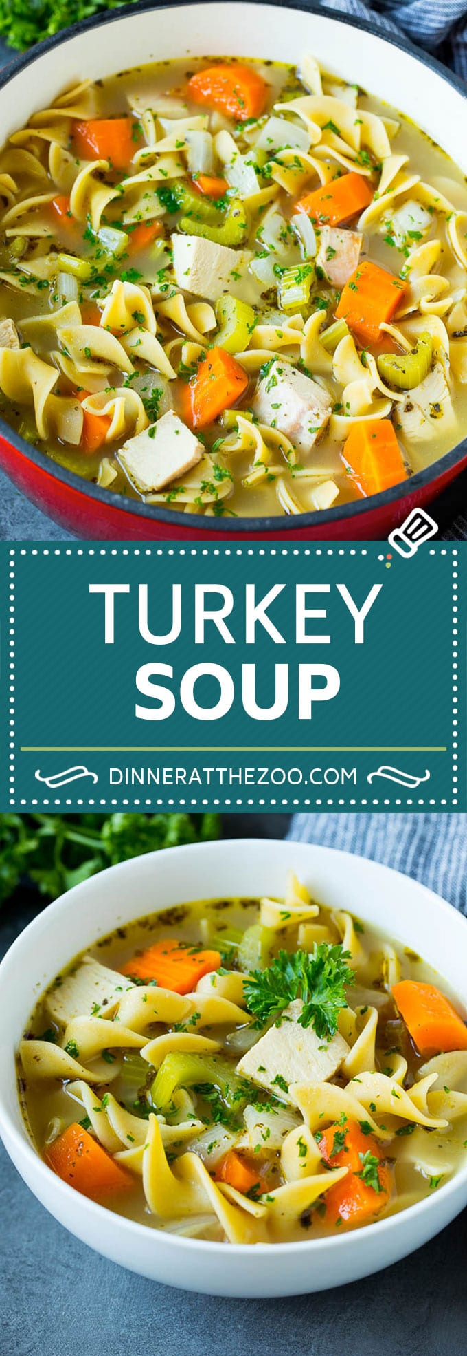 This turkey soup recipe is homemade turkey broth loaded with vegetables, diced turkey and egg noodles.