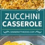 This zucchini casserole is sauteed squash tossed in a creamy sauce with plenty of cheese, all topped off with cracker crumbs and baked to perfection.