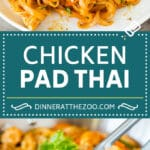 This chicken pad thai is rice noodles tossed with tofu, sliced chicken, veggies and egg, all in a savory sauce.