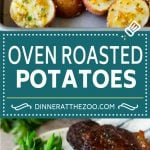 These oven roasted potatoes are baby potatoes coated in olive oil, garlic, herbs and parmesan cheese, then baked until golden brown and crispy.