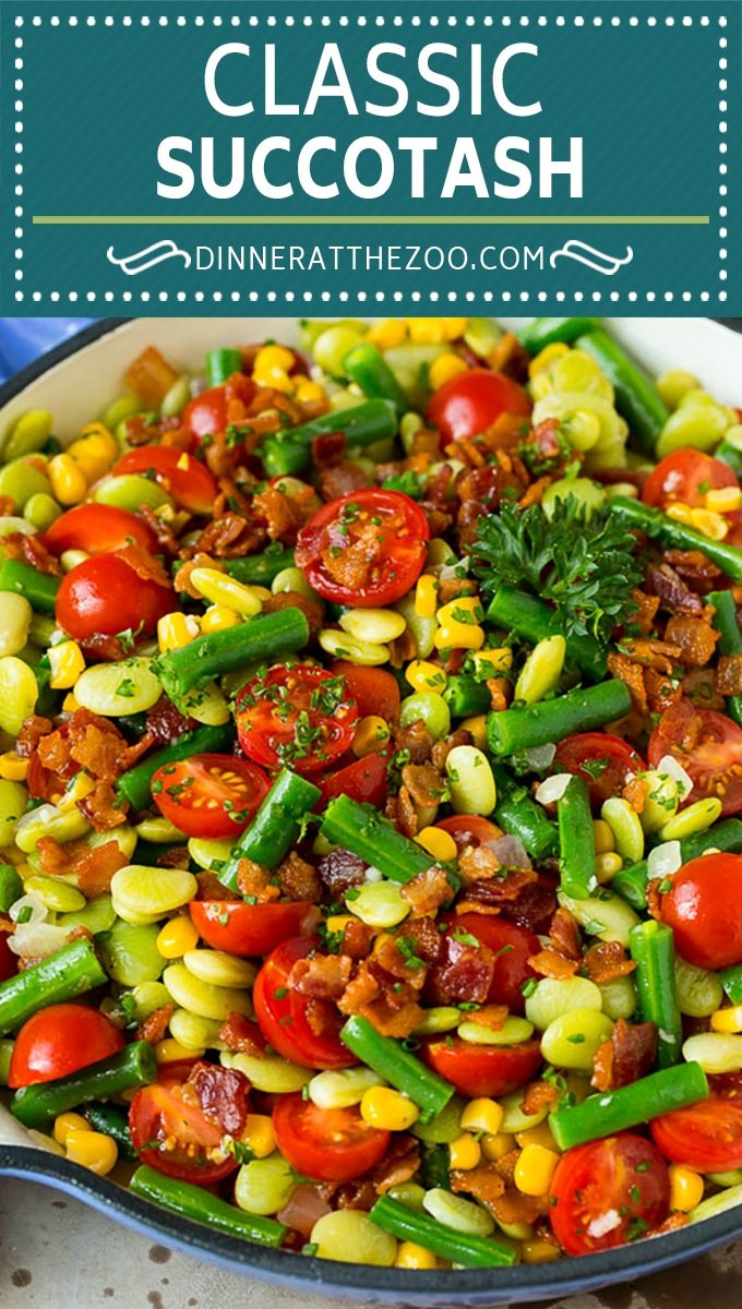 This succotash recipe is a combination of bacon, corn, tomatoes and lima beans, all cooked together to make a colorful and delicious side dish.