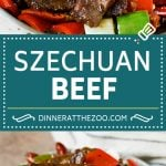 This Szechuan beef is a spicy stir fry made with tender pieces of beef and colorful vegetables.
