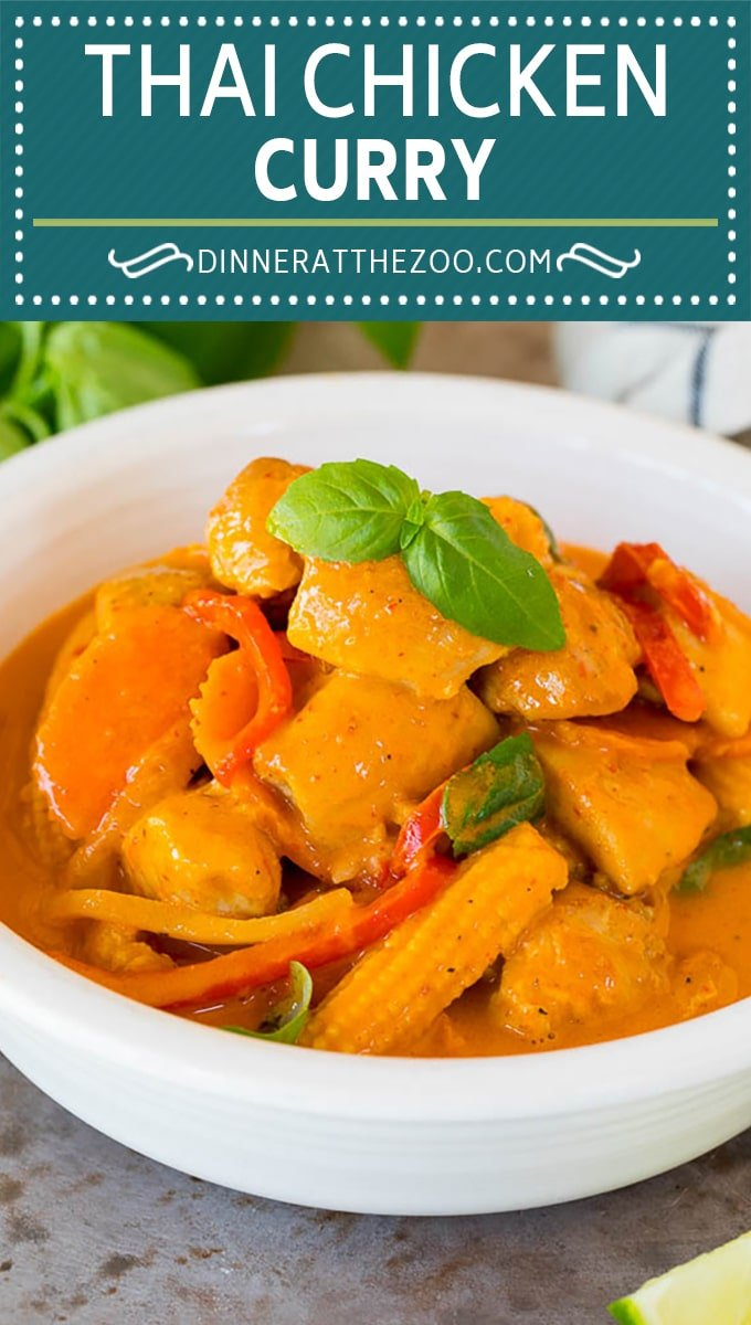 This Thai chicken curry is pieces of tender chicken and colorful vegetables, all simmered together in a coconut red curry sauce.