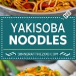 These yakisoba noodles are tender noodles stir fried with chicken and assorted vegetables in a savory sauce.
