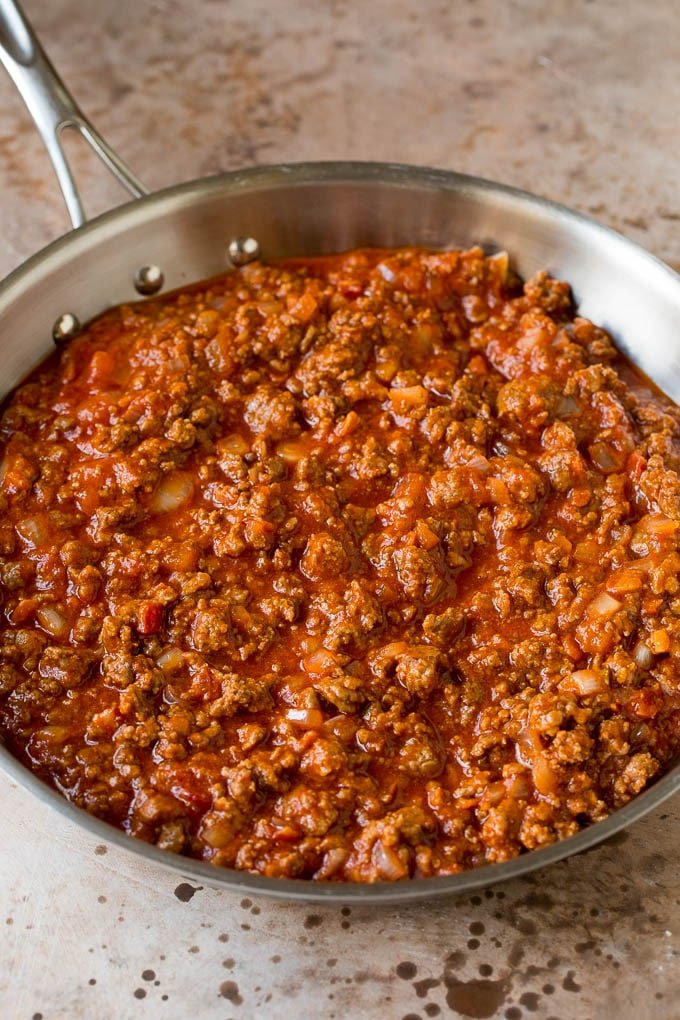 Ground beef and onions mixed with tomato sauce and seasonings.