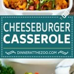 This cheeseburger casserole is ground beef, bacon, macaroni and plenty of cheese, all baked together to perfection.