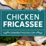 This chicken fricassee is tender chicken pieces simmered in a creamy sauce with mushrooms and carrots.