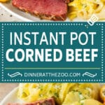 This Instant Pot corned beef is pressure cooked until tender, then served with potatoes, cabbage and carrots.
