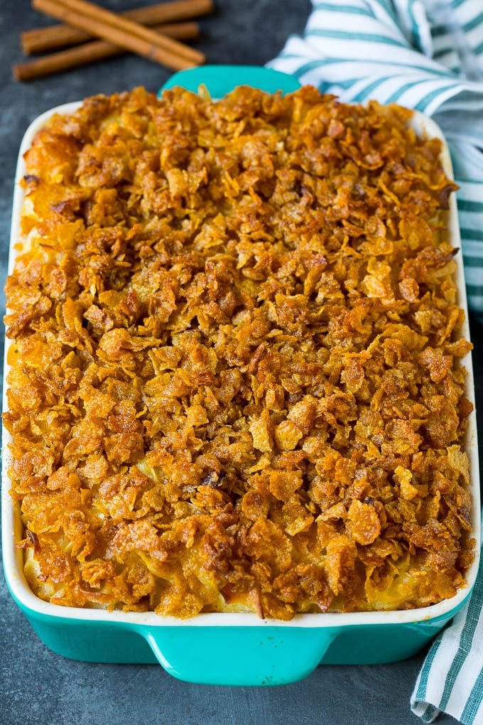 A baked noodle kugel with cornflake topping.