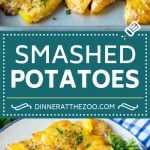 These smashed potatoes are baby potatoes that are boiled until tender, then smashed flat, topped with garlic and herb butter, and roasted until crispy and browned.