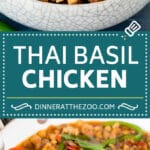 This Thai basil chicken is finely diced chicken that is stir fried with bell peppers, shallots and fresh basil leaves, all in a savory sauce.