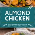 This almond chicken is a stir fry of chicken thigh pieces, assorted vegetables and crunchy almonds, all tossed in a savory sauce.