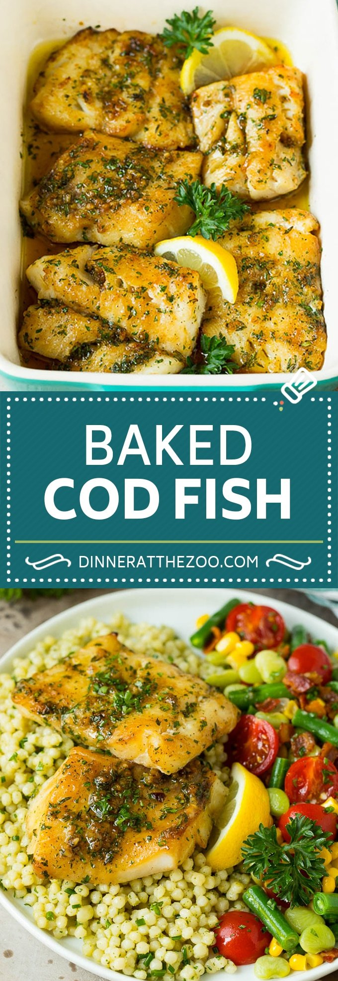 This baked cod is marinated with olive oil, garlic and fresh herbs, then roasted to tender and flaky perfection.