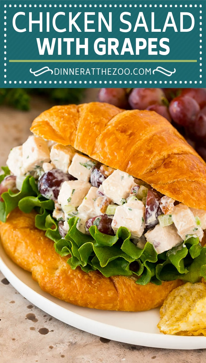 This chicken salad with grapes is a blend of chicken, fresh veggies, pecans and fruit, all tossed together in a creamy dressing.