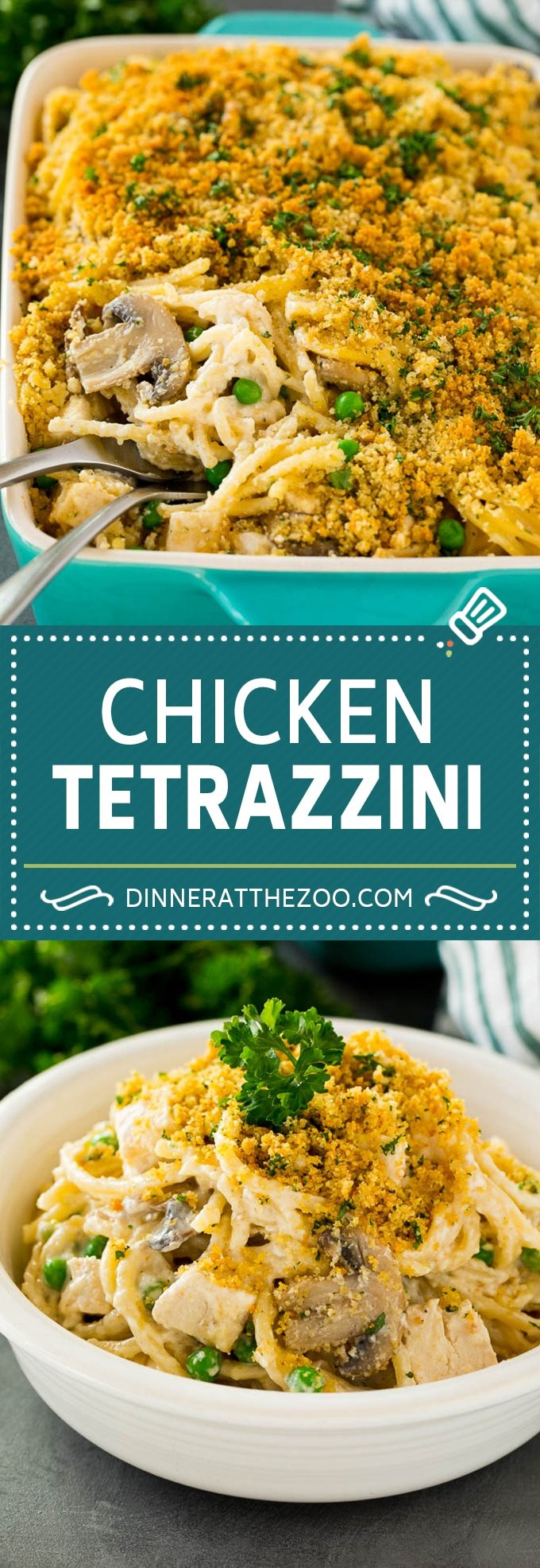 This chicken tetrazzini is spaghetti, mushrooms, peas, chicken and cheese, all tossed together in a homemade creamy sauce.