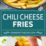 These chili cheese fries are crispy french fries topped with homemade beef chili and cheese cheese, then baked to melted perfection.