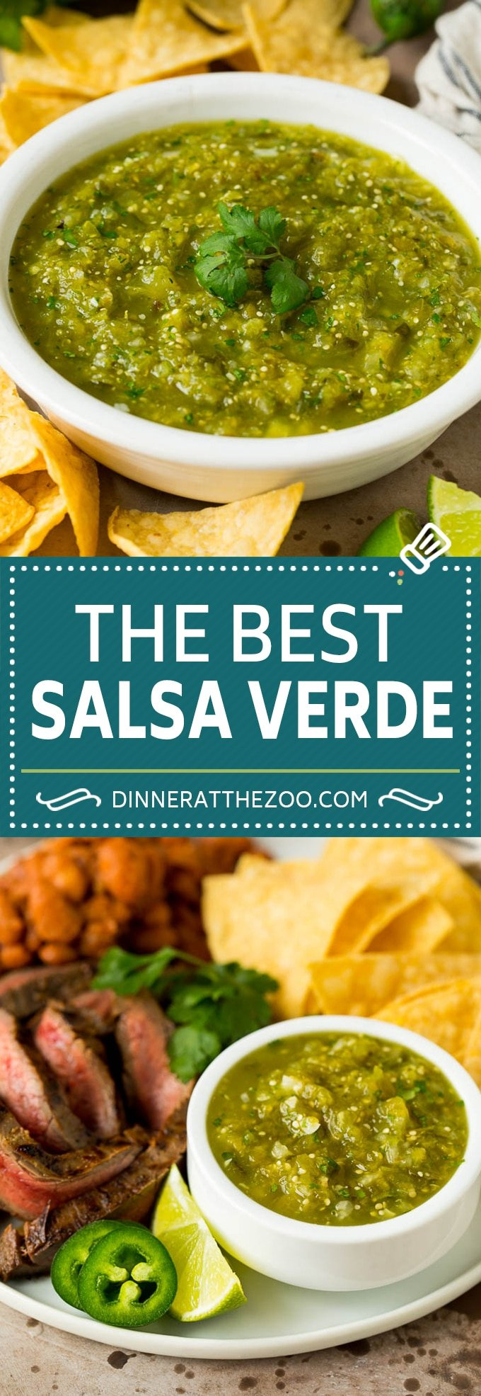 This homemade salsa verde is a combination of roasted chilies, tomatillos, garlic, cilantro and lime juice, all blended together to make a light and refreshing dip.