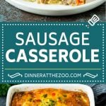 This sausage casserole is breakfast sausage cooked with peppers and onions, then combined with hash browns, eggs and cheese and baked to golden brown perfection.