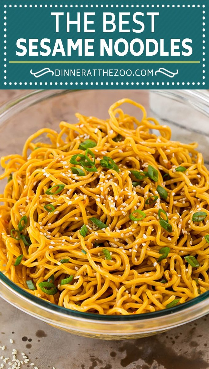 These sesame noodles are Asian noodles tossed in a savory peanut and sesame sauce.