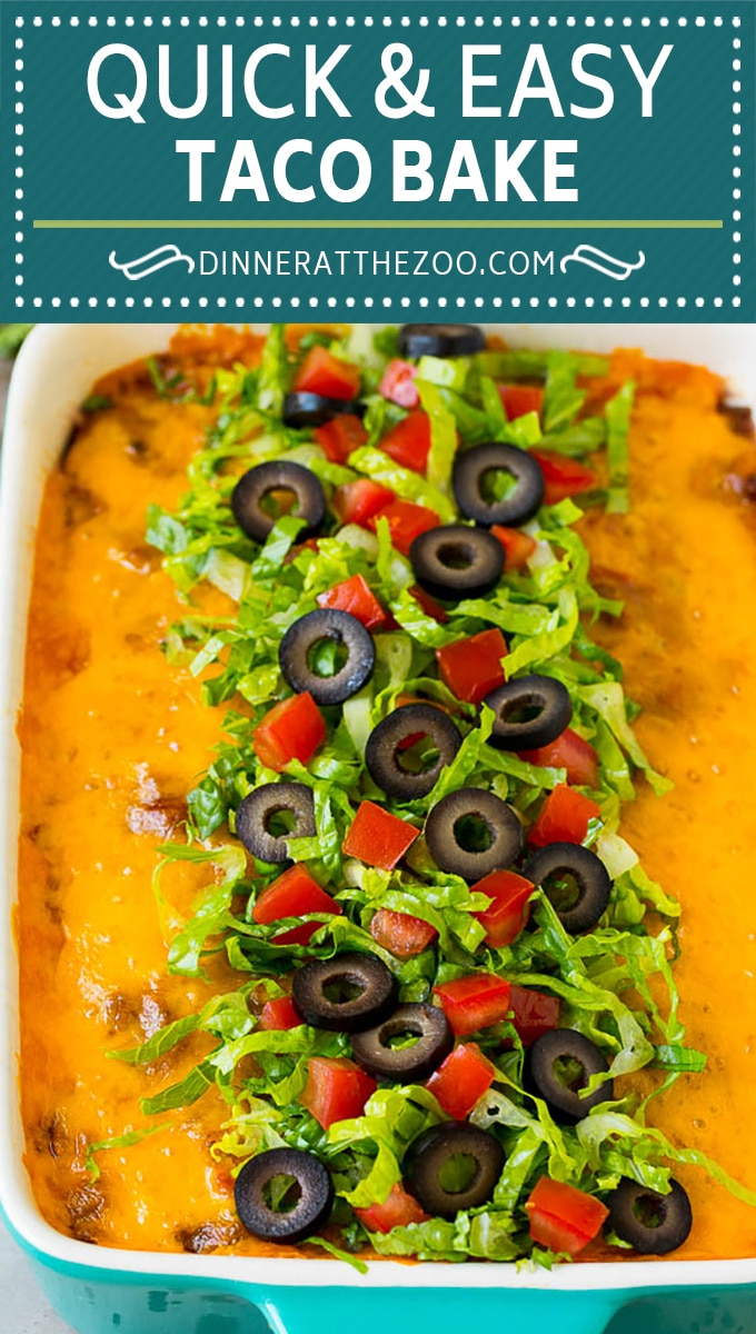 This taco bake is a layer of crushed tortilla chips topped with beans, seasoned ground beef and cheese.