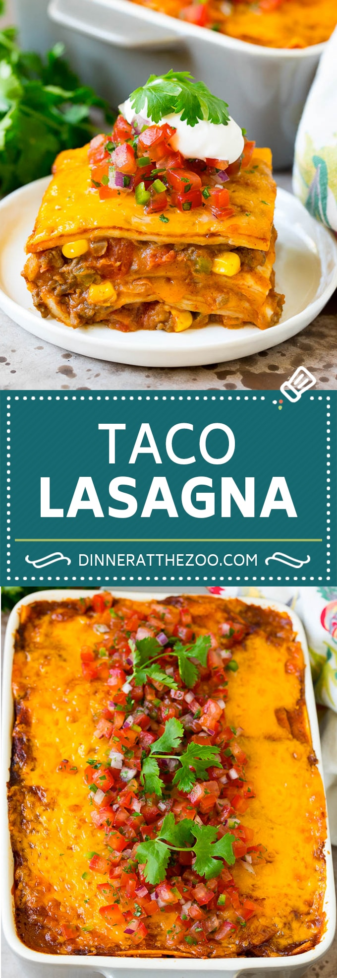 This taco lasagna is layers of flour tortillas, melted cheese, beans, veggies and ground beef, all baked together until golden brown.