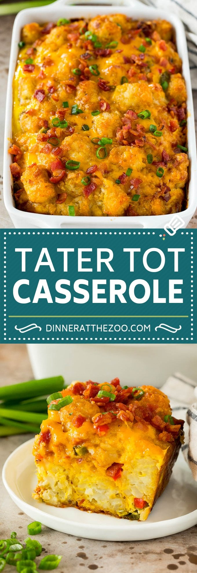 This tater tot breakfast casserole is made with bacon, eggs, veggies, potato tots and plenty of cheese, all baked together.