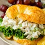 Turkey salad served in a croissant.