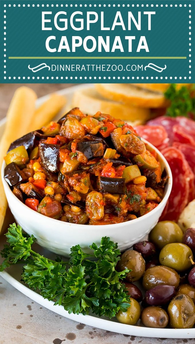 This caponata recipe is a sweet and savory blend of eggplant, peppers, tomatoes and olives, all simmered together to create a delicious appetizer.