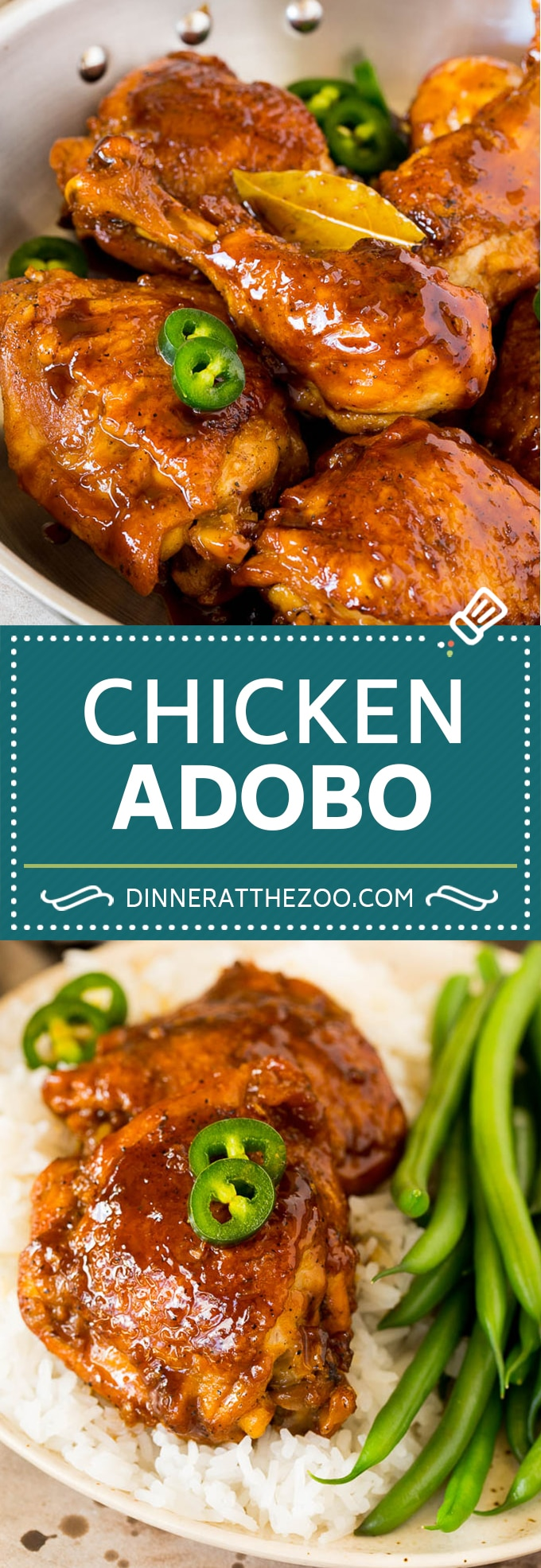 This chicken adobo is a Filipino dish made with chicken pieces simmered in a sweet and savory sauce.