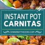This Instant Pot carnitas recipe is pork seared to golden brown perfection, then pressure cooked with citrus and spices.
