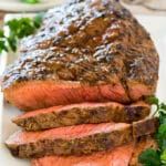 Meat cooked in London broil marinade, then sliced.