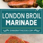 This London broil marinade is made with a savory blend of olive oil, lemon juice, soy sauce and plenty of herbs and spices.